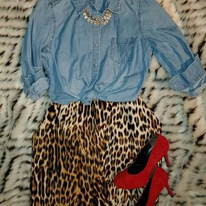 Leopard animal print pencil skirt